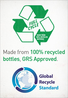 Full Cycle: Made with 100% Recycled Bottles, GRS approved